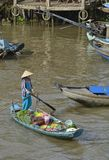Boot in Phong Dien Floating Market royalty-vrije stock foto