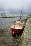Boot am Pier Stockbild
