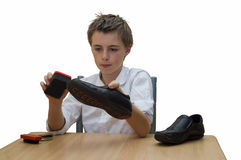 Boot polishing royalty free stock photos