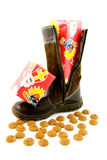 Boot with present and ginger nuts Stock Images