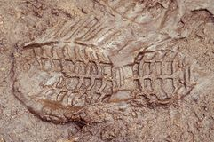 Boot print in brown mud. (dirty autumn or spring Stock Images