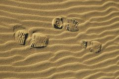 Boot prints on dune Stock Photography