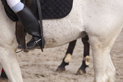 Boot rider with spurs at jumping competition Royalty Free Stock Photography