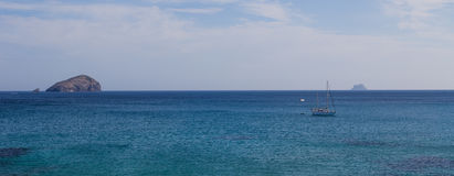 Boot, Riff und seaview Lizenzfreies Stockfoto