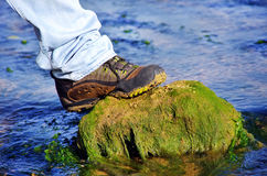 Boot on a rock in water Royalty Free Stock Photos