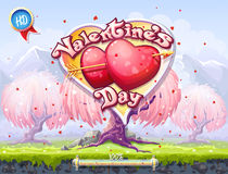 Boot screen to the computer game  of Valentine's Day. Example of the boot screen to the computer game or web design on the theme of Valentine's Day Royalty Free Stock Photos