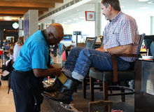 Boot shine - Dallas airport Stock Photography