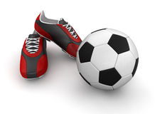 Boot with a soccer ball (clipping path included) Stock Image