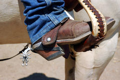 Boot and Spur in Stirrup Stock Image
