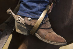 Boot in Stirrup. Cowboy boot in a stirrup Royalty Free Stock Image