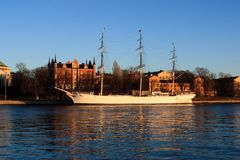 Boot in Stockholm Stockfoto