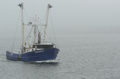 Boot Timberwolf der kommerziellen Fischerei am nebeligen Tag Lizenzfreies Stockfoto