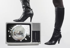 Boot and tv Royalty Free Stock Image