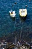 Boot twee in het blauw ziet Royalty-vrije Stock Afbeeldingen