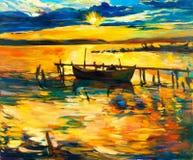 Boot und Pier Stockbild