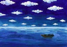 Boot unter runden Wolken Lizenzfreies Stockfoto