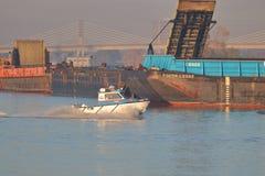 Boot voor het Inspecteren van Vloot wordt gebruikt die stock foto's