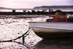 Boot in Wellfleet-Hafen mit Oystermen im Hintergrund auf Cape Cod, Wellfleet MA lizenzfreie stockfotografie