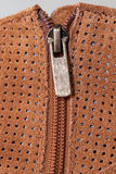 Boot Zipper in Perforated Suede Royalty Free Stock Image