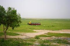 Boot zonder water in Dongting-Meer Royalty-vrije Stock Foto's