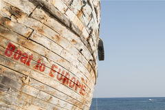 Boot zu Europa stockfoto