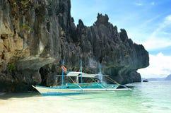 Bootbangka in Gr Nido, Palawan, Filippijnen Stock Foto