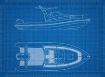 Bootblauwdruk stock illustratie