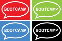 BOOTCAMP text, on ellipse speech bubble sign. Royalty Free Stock Photos