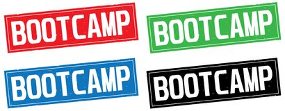 BOOTCAMP text, on rectangle stamp sign. Stock Image