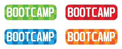 BOOTCAMP text, on rectangle, zig zag pattern stamp sign. Royalty Free Stock Photo