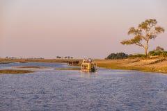 Bootcruise en het wildsafari op Chobe-Rivier, de grens van Namibië Botswana, Afrika Chobe Nationaal Park, beroemde wildlilfereser stock afbeeldingen