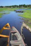 Boote in Amazonas-Gebiet Lizenzfreie Stockfotos