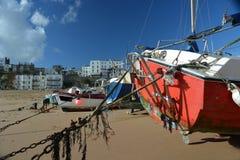 Boote auf Broadstairs-Strand Großbritannien lizenzfreie stockfotografie