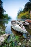 Boote auf dem Dordogne. stockbild