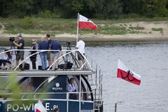 Boats on the river Vistula in Warsaw during the celebration of 75th anniversary of Warsaw Uprising