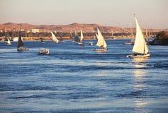 Boote auf dem Nil Stockbilder