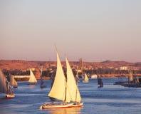 Boote auf dem Nil Stockbild