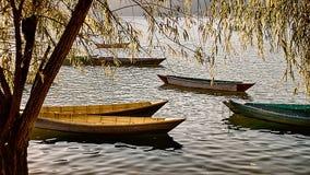 Boote auf dem Phewa See, Pokhara stockfotografie