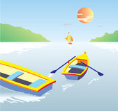 Boote auf dem Wasser Stockbild