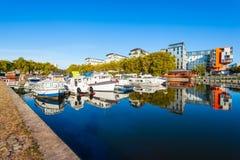 Boote auf Erdre-Fluss, Nantes lizenzfreies stockfoto