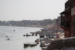 Boote auf Ganga Fluss Lizenzfreies Stockfoto