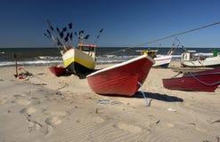 Boote auf Strand Stockfoto