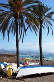Boote auf Strand Torre Del Mar, Spanien Lizenzfreie Stockbilder