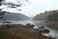 Boote auf Waldsee Stockfotografie