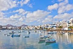 Boote bei Charco de San Gines, der alte Hafen von Arrecife, Lanzarote Lizenzfreies Stockfoto