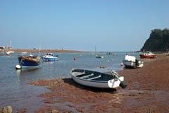 Boote bei Ebbe Lizenzfreies Stockbild