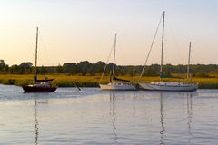 Boote an der Dämmerung Stockfotografie