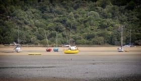 Boote in der Ebbe in Neuseeland Lizenzfreies Stockbild