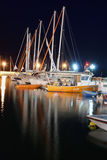 Boote in der Nacht stockfoto