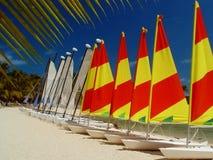Boote in der Zeile, Mauritius Stockfotografie